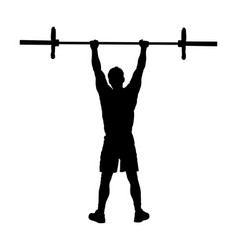 Weightlifter in gym silhouette sport man workout vector