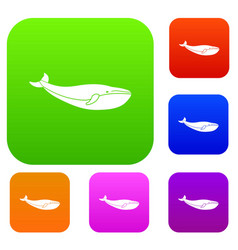 whale set collection vector image