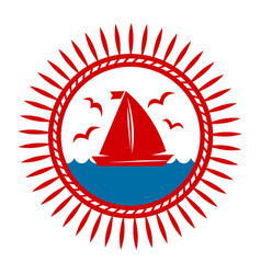 yacht boat on waves and seagulls icon vector image