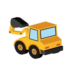 Yellow truck excavator icon graphic vector