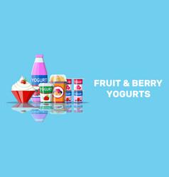 yogurt or milky dessert set vector image