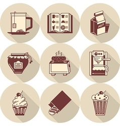 Brown icons for morning menu vector image vector image