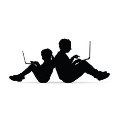 children silhouette with work on laptop vector image
