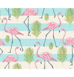Cute seamless pattern with flamingos and palm vector image