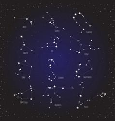 horoscope star dot zodiac in cosmos background vector image vector image