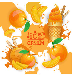 ice cream with peach taste dessert colorful poster vector image vector image