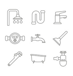 monochrome set with line plumbing icons vector image