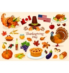 Thanksgiving day isolated icons vector image