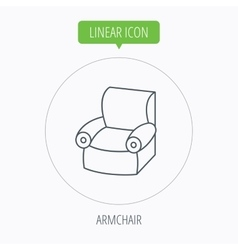 Armchair icon Comfortable furniture sign vector image