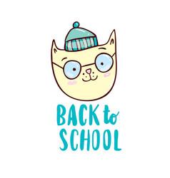 back to school with cartoon cat vector image