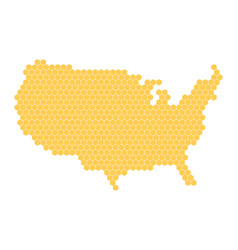 hexagonal mosaic in a shape of usa map yellow vector image vector image