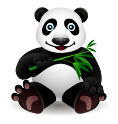 little cartoon panda and bamboo vector image vector image