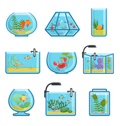 set of different aquariums with vector image vector image
