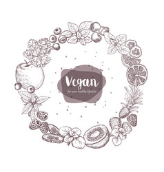 sketches of vegan food for cooking cards stickers vector image vector image