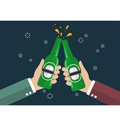 Two businessmen toasting bottle of beer vector image vector image