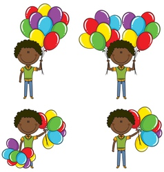 African-American boys with color balloons vector image vector image