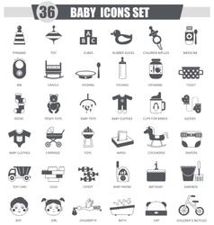 Baby black icon set Dark grey classic icon vector image vector image
