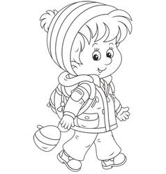 Schoolchild in winter clothes vector image vector image