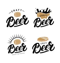 Set of beer hand written lettering logos labels vector image