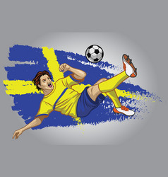 sweden soccer player with flag as a background vector image vector image