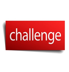 challenge red paper sign isolated on white vector image vector image