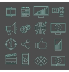 Digital marketing and video advertising thin line vector image vector image