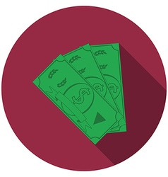 Flat design money icon with long shadow isolated vector image vector image