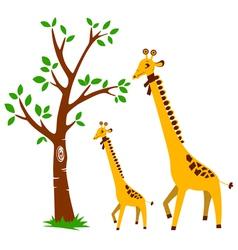 Tree and Giraffe vector image