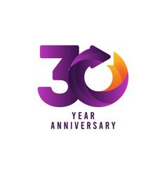 30 years anniversary gradient purple template vector