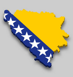 3d isometric map bosnia with national flag vector