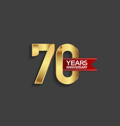 70 years anniversary simple design with golden vector