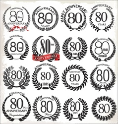 80 years anniversary laurel wreaths vector