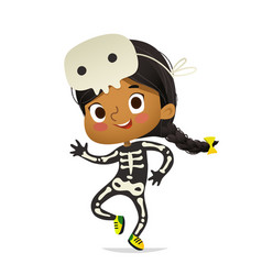 african-american girl wearing skeletom costume and vector image
