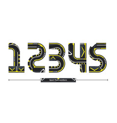 alphabet sport tech number style in a set 12345 vector image