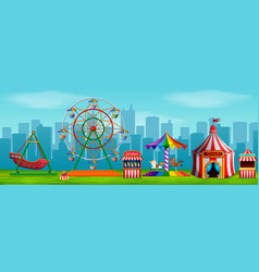 Amusement park scene at daytime vector