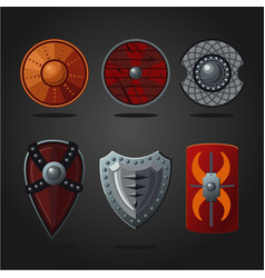 Antique fantasy shields set weapons collection vector