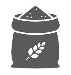 bag of wheat glyph icon farming and agriculture vector image
