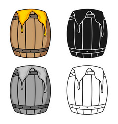 barrel of honey icon in cartoon style isolated on vector image