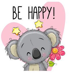 Be happy greeting card with koala vector