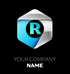 blue letter r logo in the silver-blue hexagonal vector image