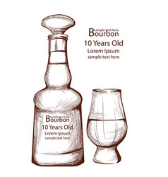 bourbon vintage bottle in line art vector image