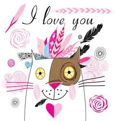 bright graphics greeting card with lovers cats vector image