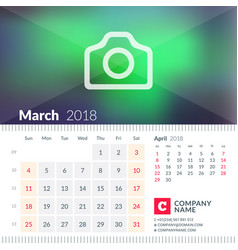 calendar for march 2018 week starts on sunday 2 vector image
