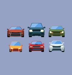cars front view urban vehicles in flat style vector image