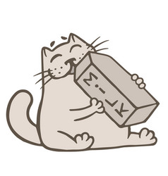 cartoon cat drinks a box of milk vector image