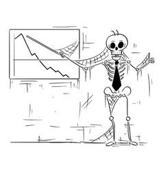 Cartoon of human skeleton of dead businessman vector