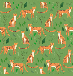 childish cartoon pattern with hand drawn jaguars vector image
