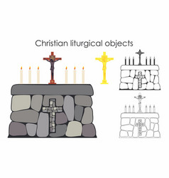 christian liturgical objects and stone table vector image