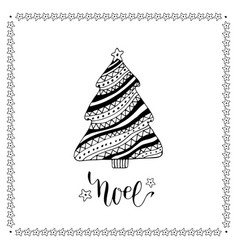 Christmas card with creative christmas tree vector
