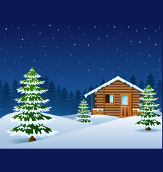 christmas wooden house with fir trees vector image